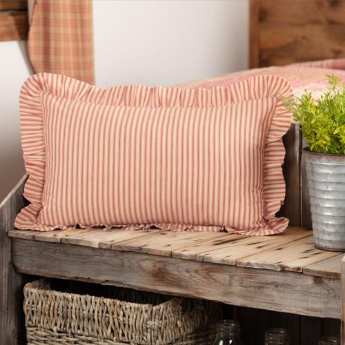 Sawyer Mill Red Ticking Stripe Pillow