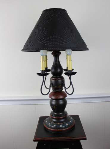 "Katie's Handcrafted Lighting Large Liberty Lamp with Patriotic Design. Pictured In Original Finish: Base Coat Color = Spicy Mustard, Top Coat Color = Black Crackle, Trim Color = Barn Red, Shade = 16"" Star Shade In Aged Black"