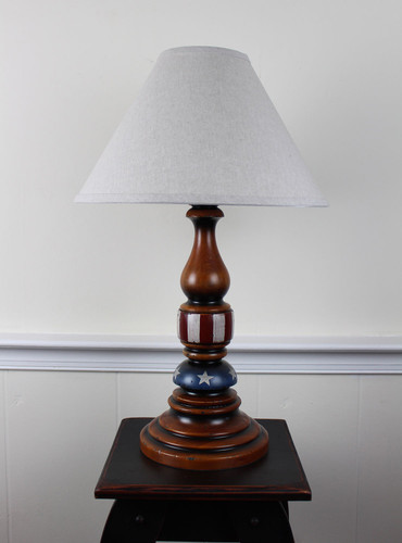 """Katie's Handcrafted Lighting Liberty Lamp Pictured In: Base Coat Color = Pumpkin Spice, Top Coat Color = None, Trim Color = None, Pictured With 15""""  Linen Shade"""