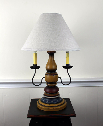 "Katie's Handcrafted Lighting Liberty Lamp Pictured In: Base Coat Color = Spicy Mustard, Top Coat Color = Black Rub, Trim Color = None, Pictured With 15""  Linen Shade"