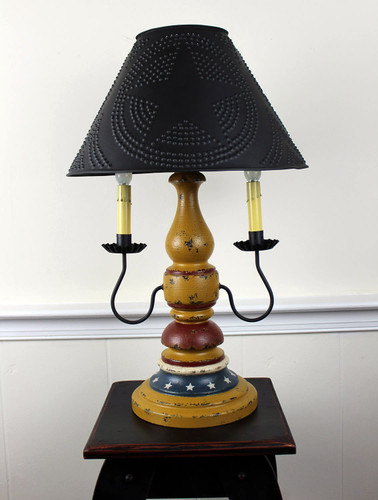 """Katie's Handcrafted Lighting Liberty Lamp Pictured In: Base Coat Color = Black, Top Coat Color = Mustard Crackle, Trim Color = None, Pictured With 15""""  Star Shade In Aged Black"""