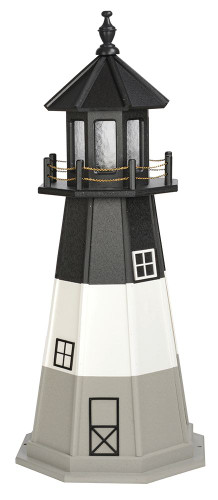 Amish Made Poly Outdoor Lighthouse - Oak Island - Shown As: 4 Foot, Standard Electric Lighting, Roof/Top Color Black, Upper Tower Color Black, Tower Middle Stripe Color: White, Lower Tower Color Gray, Optional Base Primary Color None, Optional Base Trim Color None, No Base/Tower Interior Lighting
