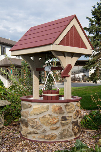 Amish Handcrafted Stone & Poly Wishing Well - Large
