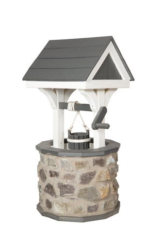 Amish Handcrafted Stone & Poly Wishing Well - Medium