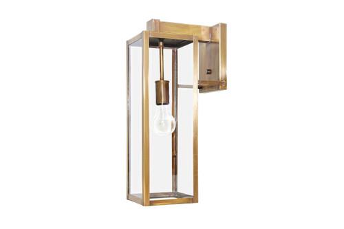 Northeast Lantern Medium Outdoor Uptown Wall Lantern - Antique Brass Finish, Clear Glass