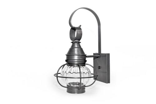Northeast Lantern Medium Outdoor Caged Onion Wall Lantern - Dark Brass Finish, Optic Glass