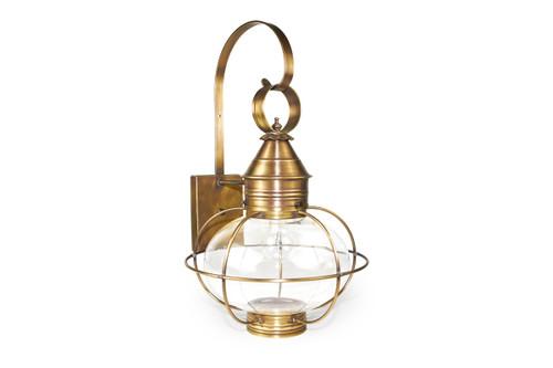 Northeast Lantern Medium Outdoor Caged Onion Wall Lantern - Antique Brass Finish, Clear Glass