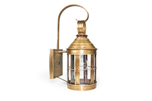 Northeast Lantern Medium Outdoor Cone Top Wall Lantern - Antique Brass Finish, Clear Glass