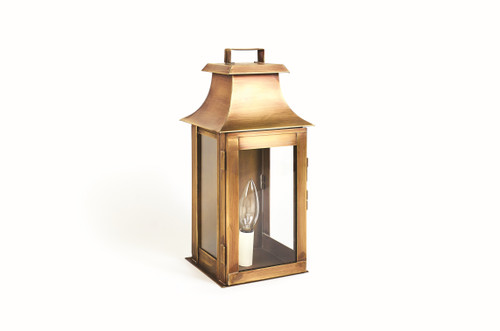 Northeast Lantern Handcrafted Outdoor Pagoda Wall Lantern - Antique Brass Finish, Clear Glass