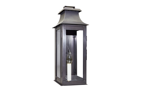 Northeast Lantern Handcrafted Outdoor Pagoda Wall Lantern - Dark Brass Finish, Clear Glass
