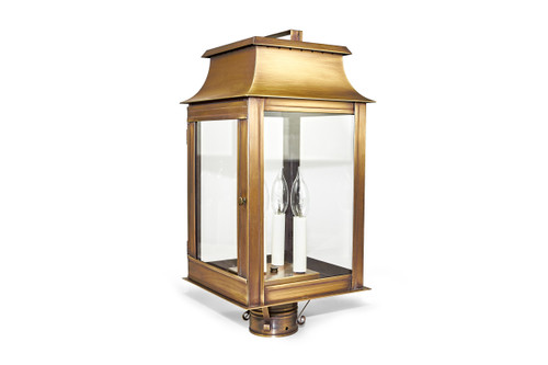 Pogoda Brass Outdoor Post Lantern By Northeast Lantern - Finished in Antique Brass With Clear Glass