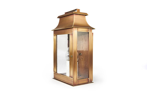Northeast Lantern Handcrafted Outdoor Pagoda Wall Lantern - Antique Brass Finish, Clear Seedy Glass