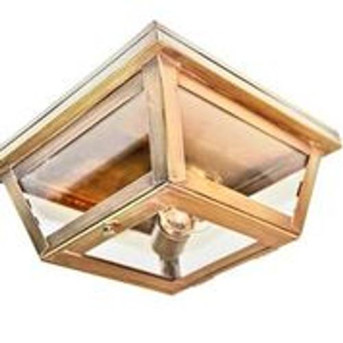 Northeast Lantern Brass Outdoor Flush Mount Ceiling Light - Antique Brass Finish, Clear Glass