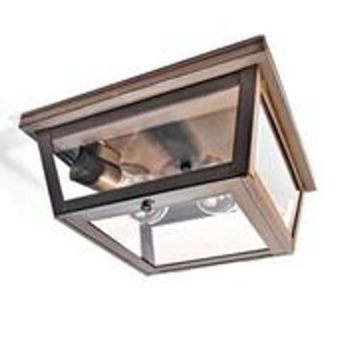 Northeast Lantern Brass Outdoor Flush Mount Ceiling Light - Dark Brass Finish, Clear Glass