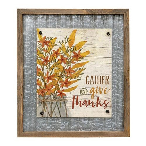 Gather and Give Thanks Hanging Sign