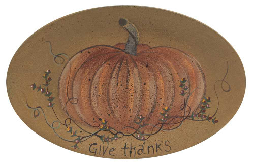 Give Thanks Pumpkin Oval Tray