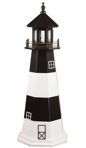 Amish Made Poly Outdoor Lighthouse - Fire Island - Shown As: 5 Foot, Standard Electric Lighting, Roof/Top Color Black, Upper Tower Color Black, Lower Tower Color White, Optional Base Primary Color None, Optional Base Trim Color None, No Base/Tower Interior Lighting
