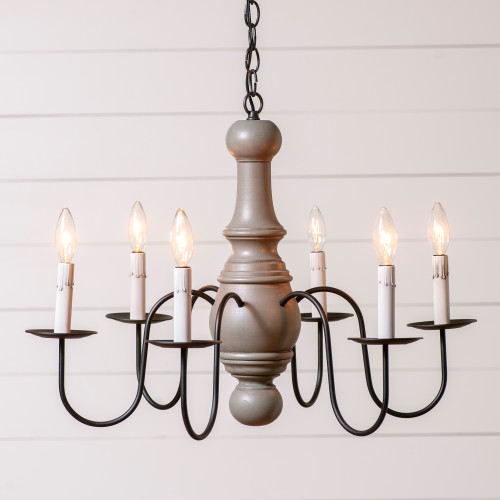 Irvin's Maple Glenn Wooden Chandelier Finished In Rustic Chic Earl Grey