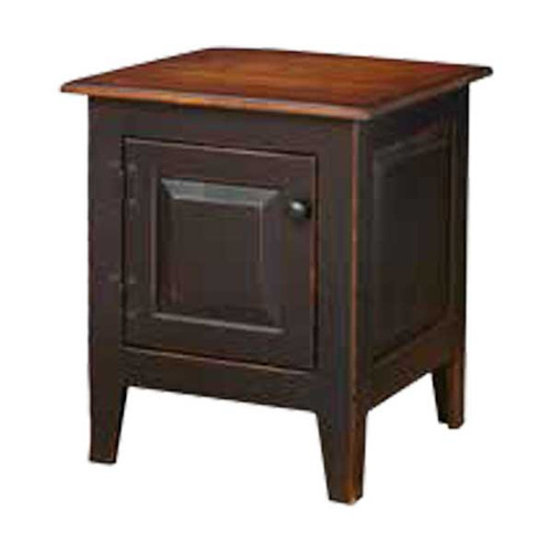 Amish Handcrafted End Table by Vintage Creations By Sam - Finished In Antique 2-Tone Finish, Black With Heritage Stain
