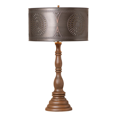 """Irvin's Davenport Lamp In Rustic Brown, Shown With Optional 15"""" Chisel Design Drum Shade Finished In Kettle Black"""