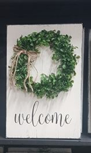 Wreath Welcome Sign