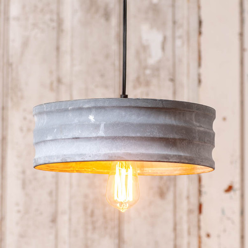 Small Drum Pendant in Weathered Zinc