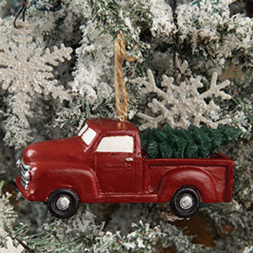 Little Red Truck  With Tree Ornament