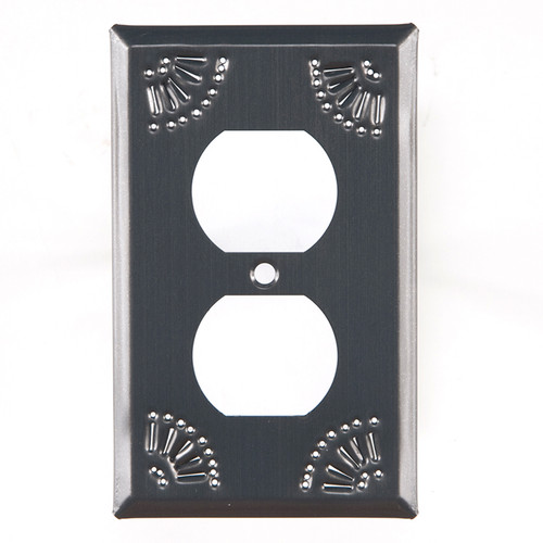 Country Tin Single Outlet Cover With Chisel Design