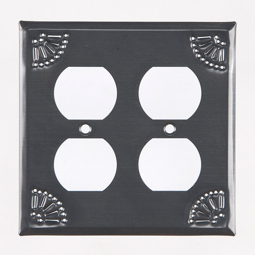 Country Tin Double Outlet Cover With Chisel Design