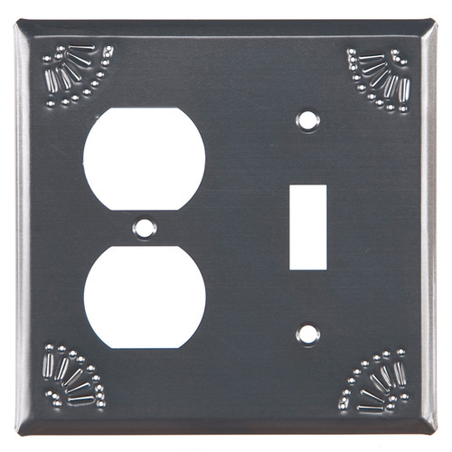 Country Tin Outlet and Switch Plate Cover With Chisel Design
