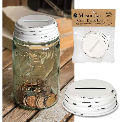 White Coin Bank Mason Jar Lid