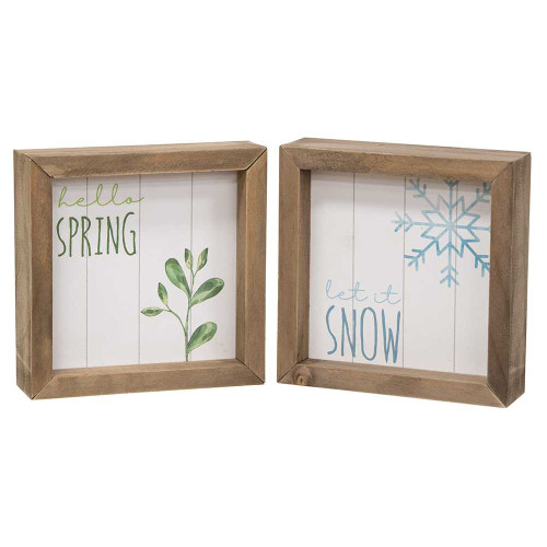 Let It Snow, Hello Spring Two-Sided Framed Sign
