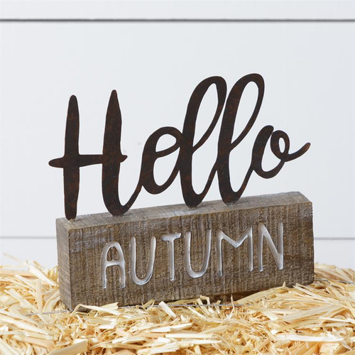 Hello Autumn Word Sign