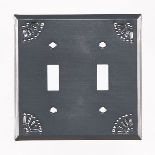 Country Tin Double Switch Plate Cover With Chisel Design