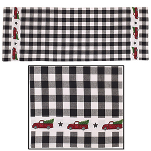 Red Truck Check Table Runner