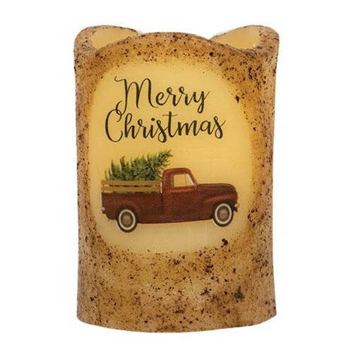 Merry Christmas Truck Candle Pillar