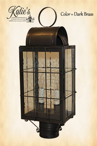 Katie's Handcrafted Lighting Danbury Outdoor Post Lantern - Finished In Dark Brass