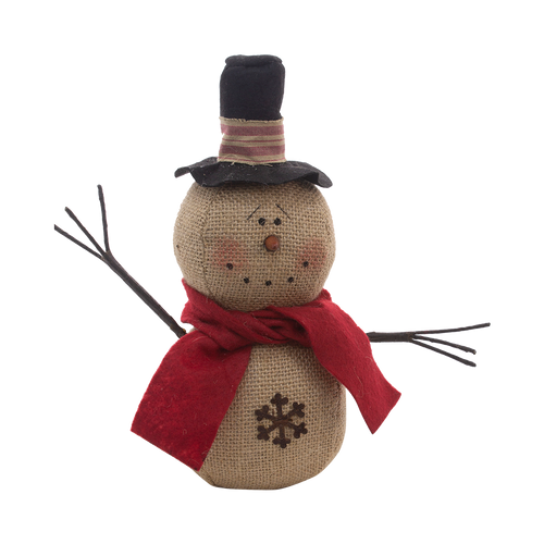 Two Stack Burlap Top hat Snowman