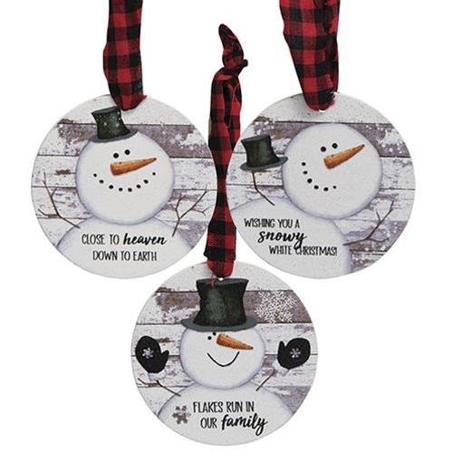 Happy Snowman Shiplap Ornaments
