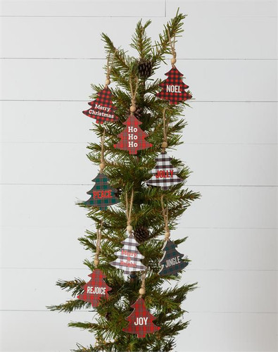 Plaid Trees With Expressions Ornaments