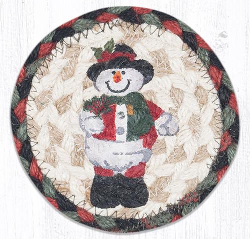 Snowman in Top Hat Round Coaster