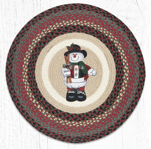 Snowman in Top Hat Round Patch Rug