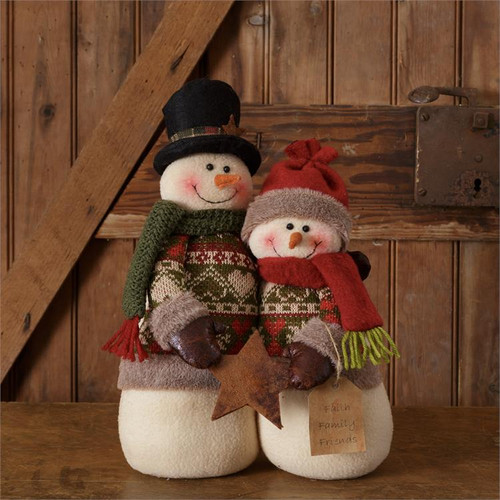 Snow Lodge Snowman Couple With Star