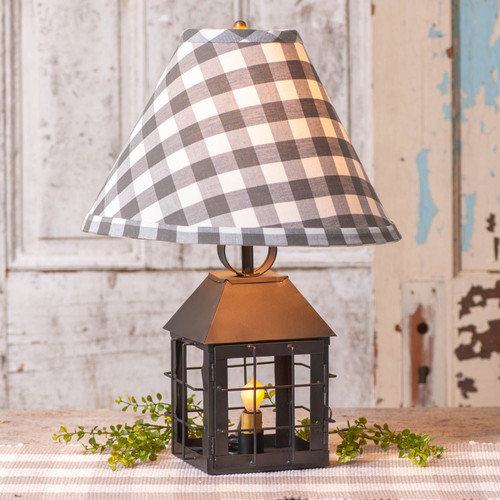 Irvin's Tinware Colonial Lantern Lamp with Grey Check Shade