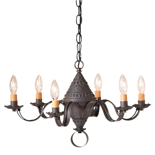 Irvin's Tinware Small Concord Chandelier In Kettle Black