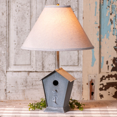 Irvin's Tinware Birdhouse Lamp with Ivory Linen Shade