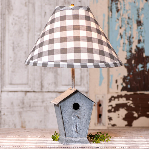 Irvin's Tinware Birdhouse Lamp with Gray Check Shade