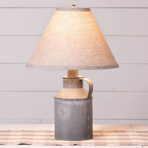 Irvin's Tinware Jug Lamp With Ivory Shade