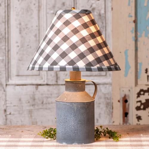 Irvin's Tinware Jug Lamp With Gray Check Shade