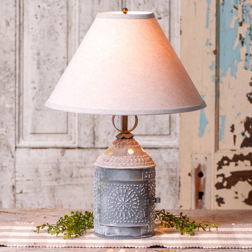 Paul Revere Lamp With Ivory Linen Shade by Irvin's Tinware